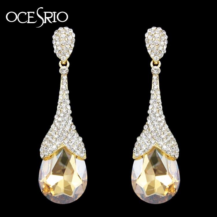 Stunning BIG Diamante CLIP ON Dangle Drop Earrings with Teardrop Crystal