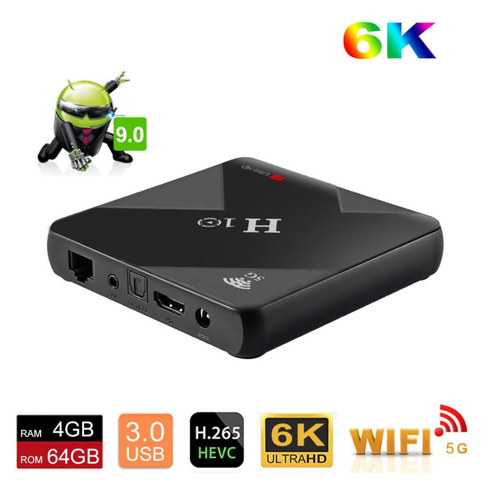 2019 haute qualité H10 TV BOX 6 k HD H6 puce Android 9.0 boîte noir