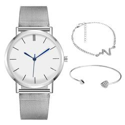 Dropshipping 3 unid/set más vendido reloj de cuarzo de lujo de marca para mujer, relojes de malla de acero para hombre, reloj de señora, zegarek damski