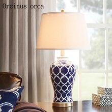 Американский стиль Античный синий настольная лампа гостиная прикроватная ручная роспись Творческий Керамическая Настольная лампа Бесплатная доставка