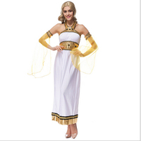 2016 newest arrival Greek Goddess Halloween costume queen of Egypt Arab dress white dress Prom Clothing M XL