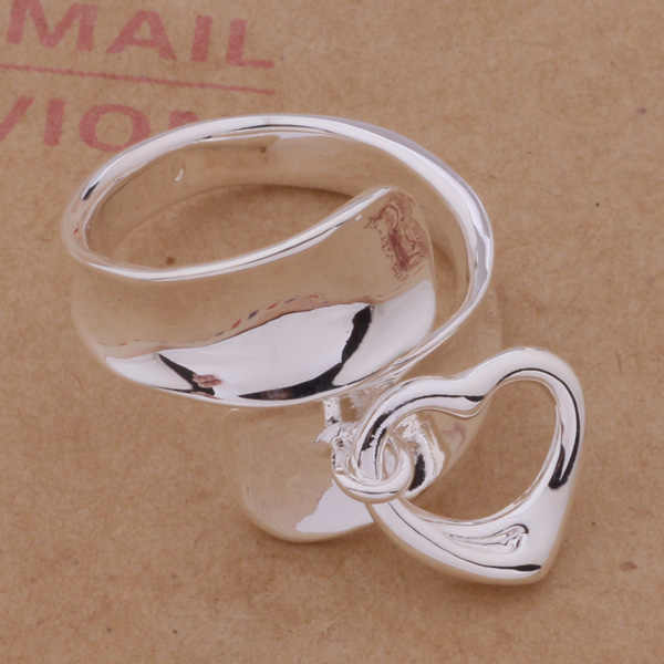 AR275 925 sterling silver ring, 925 silver fashion jewelry, heart hanging  /anoajeva amlajdsa