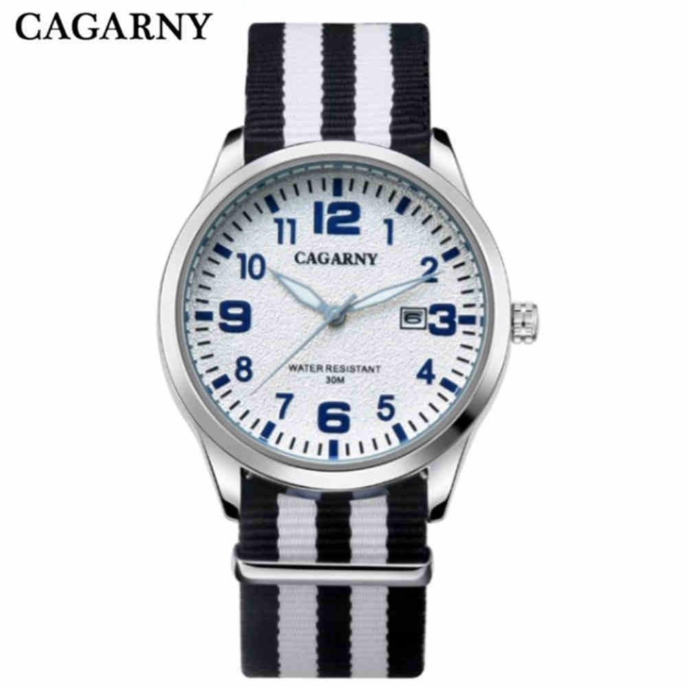 418c70b11 Cagarny الرجال الفاخرة الساعات ماركة أزياء جديدة الساعات رقيقة جدا النايلون  الفرقة الكوارتز ساعة اليد عارضة الرياضة ووتش relogio masculino