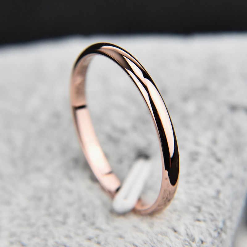 Baja Titanium Rose Gold Anti Alergi Cincin untuk Wanita Bulat Sederhana Halus Pernikahan Pasangan Cincin Wanita Perhiasan hadiah