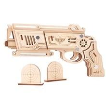 Pistolet à ruban en caoutchouc, découpe Laser, Puzzle en bois 3D, Kit dassemblage artisanal en bois, chasse, loup, aigle, Train, Dragon, cadeau de noël