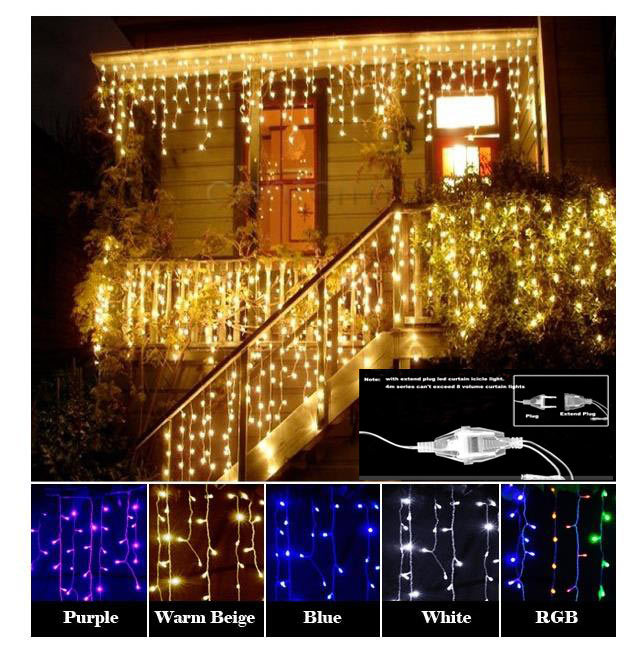 Рождество гирлянды светодиодные Шторы Сосулька свет шнура 220 В 4.5 м 100 светодиодов Крытый падение привело Garden Party этап открытый декоративный свет