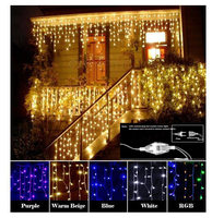 Christmas Garland LED Curtain Icicle String Light 220V 4m 120Leds Drop 0 6m LED Party Garden