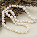 New fashion hot 8-9mm white genuine natural freshwater cultured pearl beads necklace for women jewelry chain choker 18inch B3234
