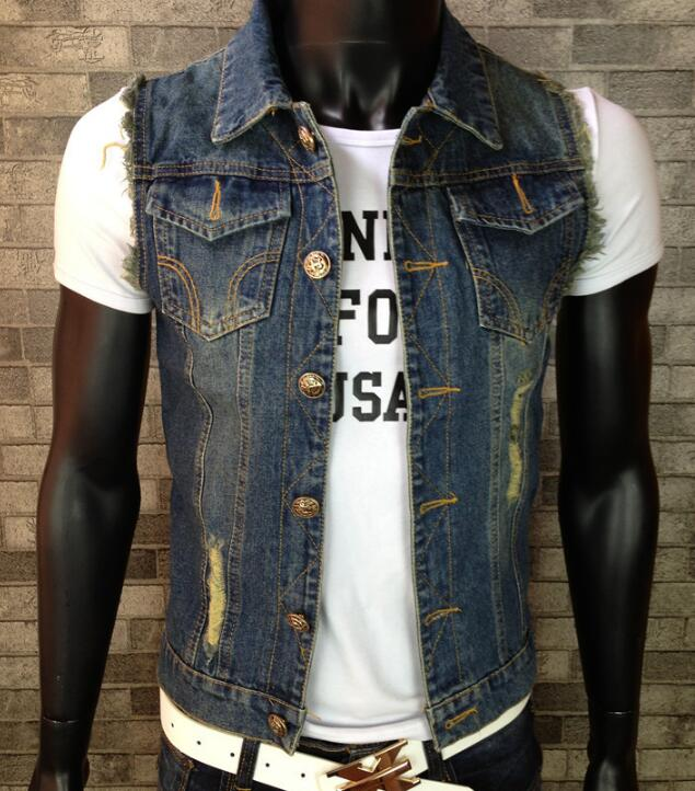 Casual Shirts Men's Clothing 2019 New Style Men Denim Vest Sleeveless Waistcoat Holes Stylish Pocket S-6xl Slim Fit Spring Summer Complete In Specifications