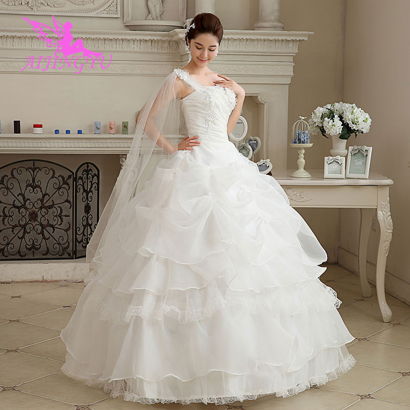 AIJINGYU 2018 Real Photos Free Shipping New Hot Selling Cheap Ball Gown Lace Up Back Formal Bride Dresses Wedding Dress WK595