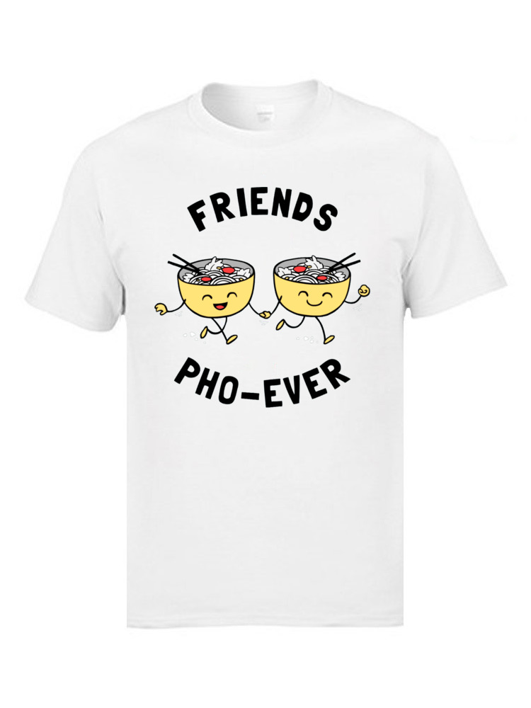 Friends Pho Ever 5639 Short Sleeve Tops T Shirt Round Neck Cotton Fabric Men T Shirts Slim Fit T-shirts 2018 Hot Sale Friends Pho Ever 5639 white