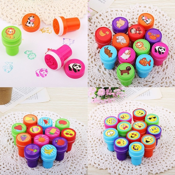 10 Pcs / Lot Cute Cartoon Rubber Stamps Smiling Face Encourage CommentsSelf Inking   Set For Scrapbooking Gifs Toys For Kid