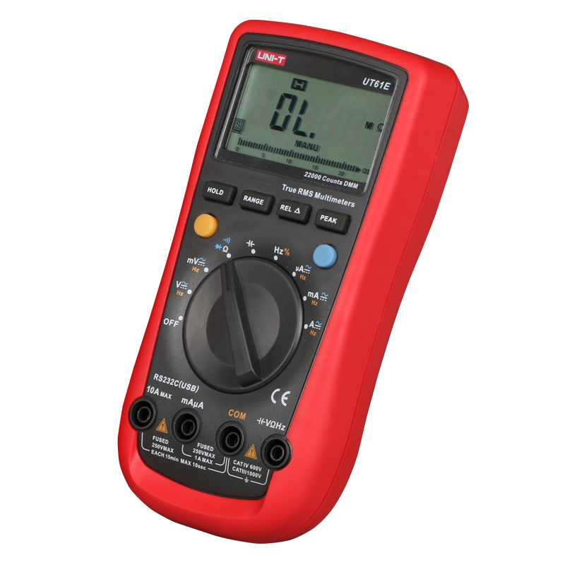 UNI-T UT61E 22000 Counts True Rms Digital Multimeter AC/DC Voltage Current,Resistance,Capacitance Tester with one more test lead  usb interface multimeter tester test true rms ac dc current voltage resistance capacitance diode temperature duty cycle meter
