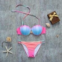 c97089fc704dc Shell Bikini 2017 Mermaid Bikini Top Biquini Sereia Pearl Swimwear Swimsuit  Swimming Suit For Women Bathing