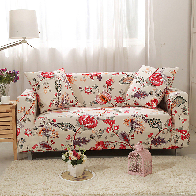 Floral Stretch Furniture Cover L Shaped Sofa Cover For Living Room Elastic  Universal Sofa Slipcover