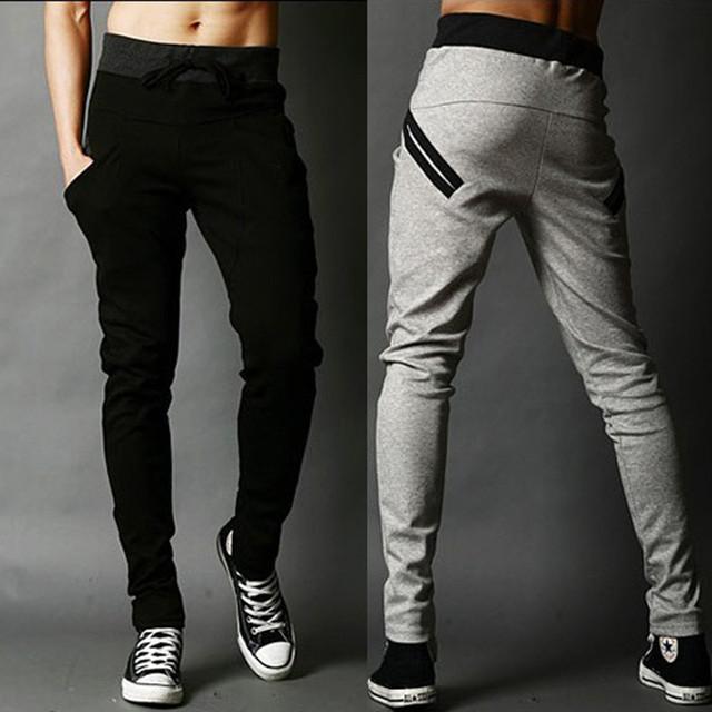 ¡ Promoción! estilo coreano de los hombres pantalones casuales pantalones de bolsillo de diseño harem pantalones pitillo