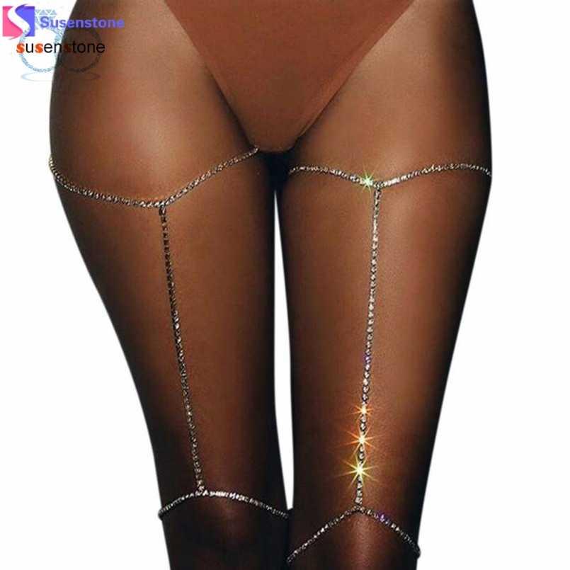 SUSENSTONE 1PC מבריק נשים ריינסטון גוף תכשיטי רגל ירך שרשרת קריסטל #7-8
