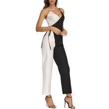 2019 Women V Neck Loose Playsuit Streetwear Lace Up Wrap Jumpsuit Casual Spaghetti Strap Patchwork Overalls цена 2017
