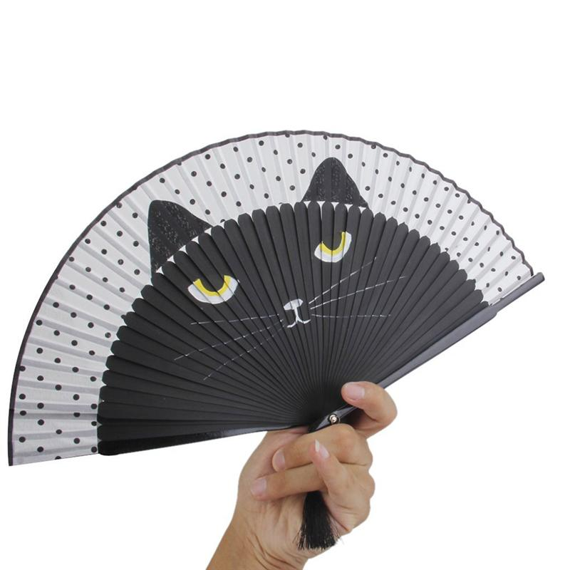 Summer Cute Cat Silk Bamboo Hand Painted Cartoon Cat Folding Fan Handmade Crafts For Party Favour Living Room Decoration A3