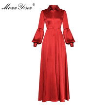 Moaa Yina Fashion Designer Runway dress Lente Zomer Vrouwen Jurk Turn-down Kraag Lantaarn Mouwen Prom Party Elegante Jurken