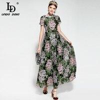 LD LINDA DELLA Neue 2018 Runway Langes Kleid damen Kurzarm Elegante Partei Knöchel Länge Vintage Mesh Floral Stickerei kleid