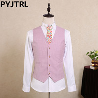 PYJTRL Mens Business Casual Classic Vest Wedding Groom Slim Fit Pink Color Waistcoat Colete Chaleco Hombre