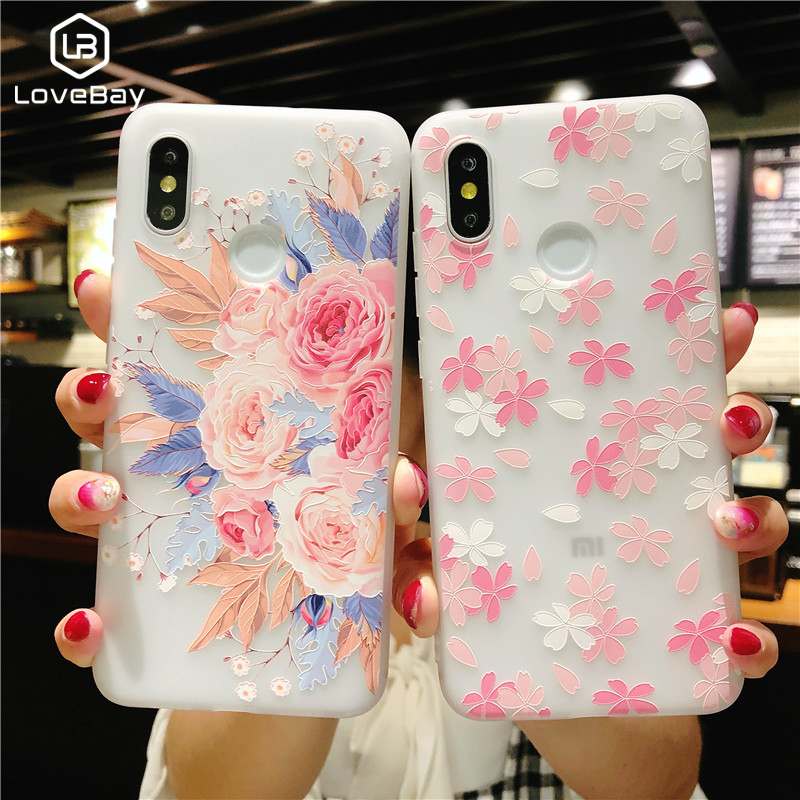 Lovebay Phone Case For <font><b>Xiaomi</b></font> 6 6X 8 SE Note 3 MIX 2S <font><b>Redmi</b></font> <font><b>4A</b></font> 4X 5A 5 Plus 6 Note 5Beautiful <font><b>3D</b></font> Soft Relief Flower Phone Cover image