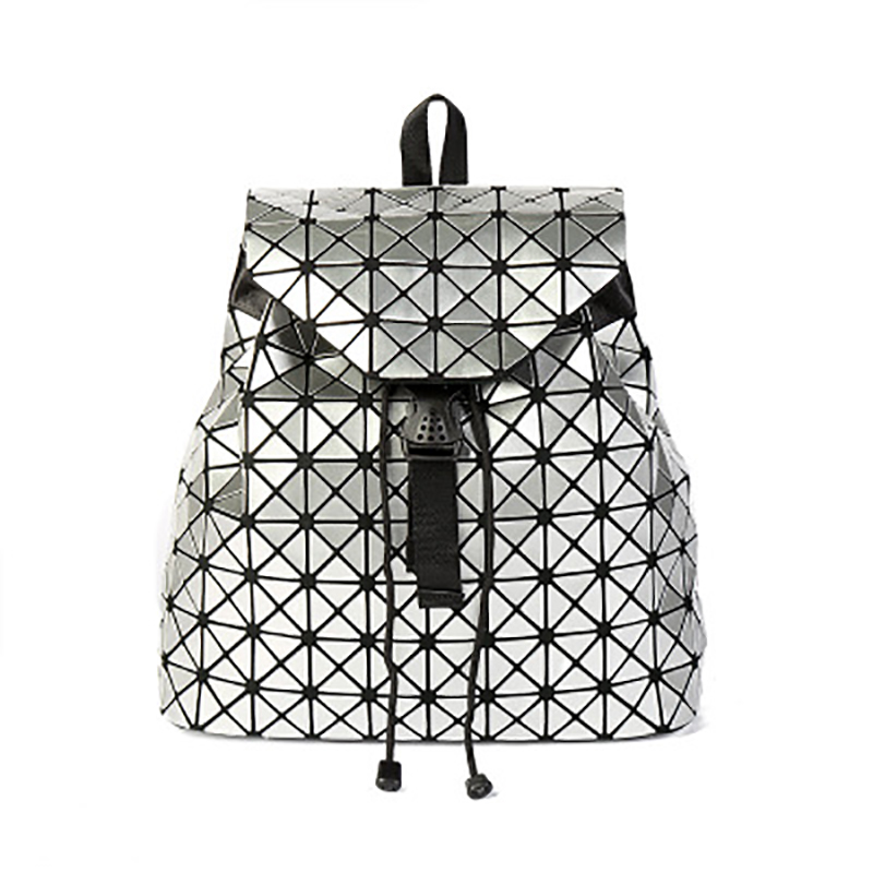 Laser magic cube womans Backpack Sequin Patent leather rhombic bag student bags Travel big backpack Geometric folding rugzak
