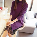 2458-a nova camisola longa camisola camisa feminino camisola de gola alta vestido de renda