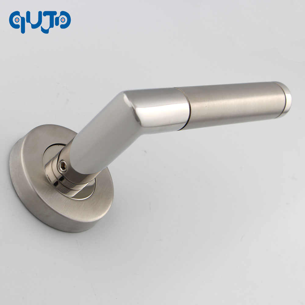 Commercial Tube Door Lever Handle On Rose Polished and Satin Lever  Door Handles