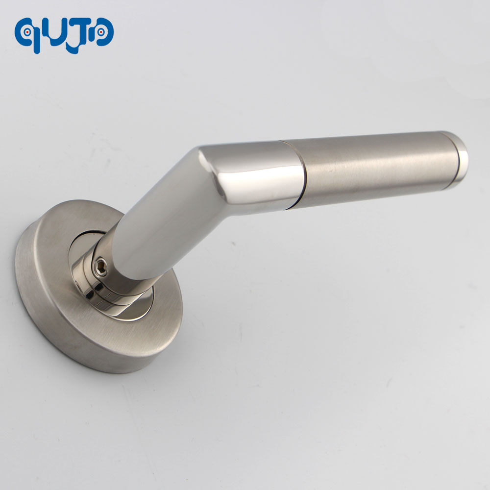 Commercial Tube Door Lever Handle On Rose Polished and Satin Lever ...