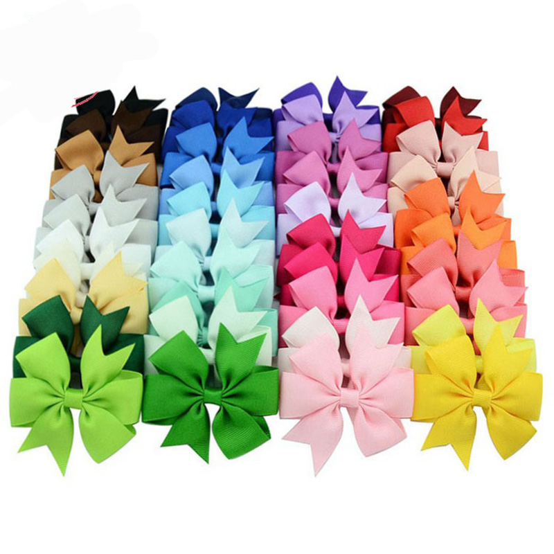 MIXIU 40pcs/set Mix Colors Grosgrain Ribbon Bow Hair Clip Boutique Handmade Hairgrips Bows Hairpin Baby Girl Hair Accessories