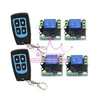Quad 12 V interruptor de controle remoto, código fixo, jog/inter-lock forma de trabalho, 2 controlador e receptor 4 por conjunto