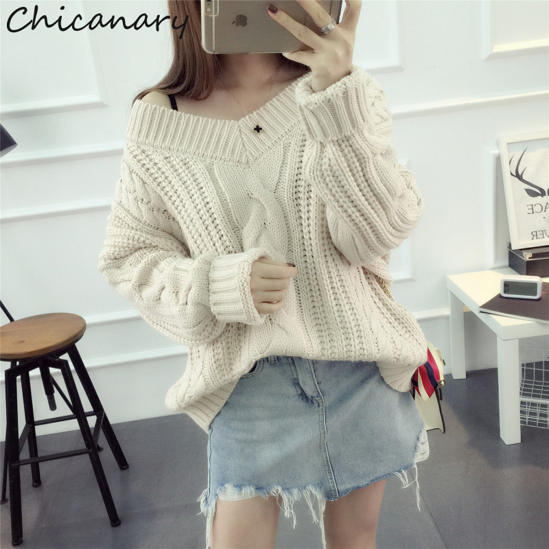 Chicanary 2017 New Autumn Loose Women s Twist Pullovers Sweaters Winter V Neck Knitted Pull Femme
