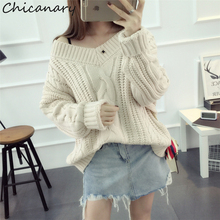 Chicanary 2017 New Autumn Loose Women's Twist Pullovers Sweaters Winter V-Neck Knitted Pull Femme Sweter Mujer
