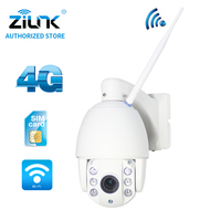 ZILNK 960P 3G 4G SIM Card IP Camera Speed Dome 1.3MP HD P2P Network 5x Zoom Waterproof PTZ IR Night Vision TF Card Outdoor White