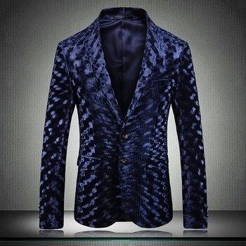 New Velvet Blazer Men Luxury Costume Homme Chanteur Single Breasted Male Blazer Plus Size 5xl Blazer Casual Men Slim Fit Blazer