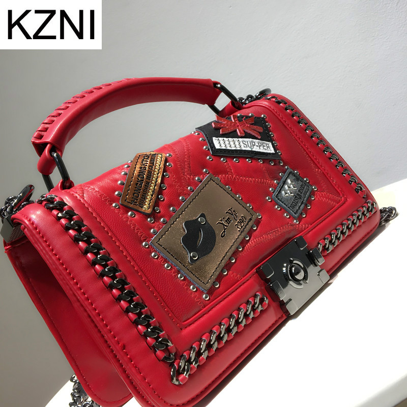 KZNI Genuine Leather Purse Crossbody Shoulder Women Bag Clutch Female Handbags Sac a Main Femme De Marque L110607 women genuine leather character embossed day clutches wristlet long wallets chains hand bag female shoulder clutch crossbody bag