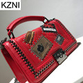 KZNI women genuine leather handbags messenger bag vintage casual crossbody bags for women excellent bolsas femininas L110607
