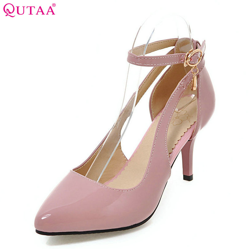 QUTAA 2017 Women Pumps Summer Pink Ladies Shoe Ankle Strap Rhinestone Thin High Heel PU Leather Woman Wedding Shoes Size 34-43