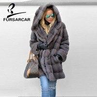 FURSARCAR 2018 Элитная норки пальто Для женщин полным ходом теплая плотная куртка с большим меховым капюшоном Женская зимняя обувь норковая шуба
