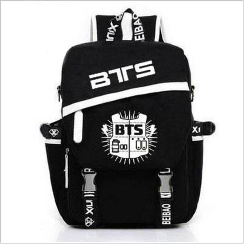 Large Capacity BTS Teenagers School Bags Black Backpacks Korean Style Anime Bag Shoulder Bag Kids Travel Bag Mochila Escolar