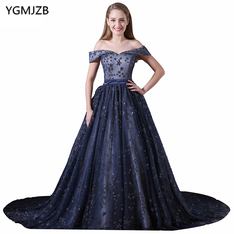 Luxury   Prom     Dresses   2018 A Line Sweetheart Off Shoulder Beaded Crystal   Prom   Gown Long Blue Evening   Dress   Vestido De Festa