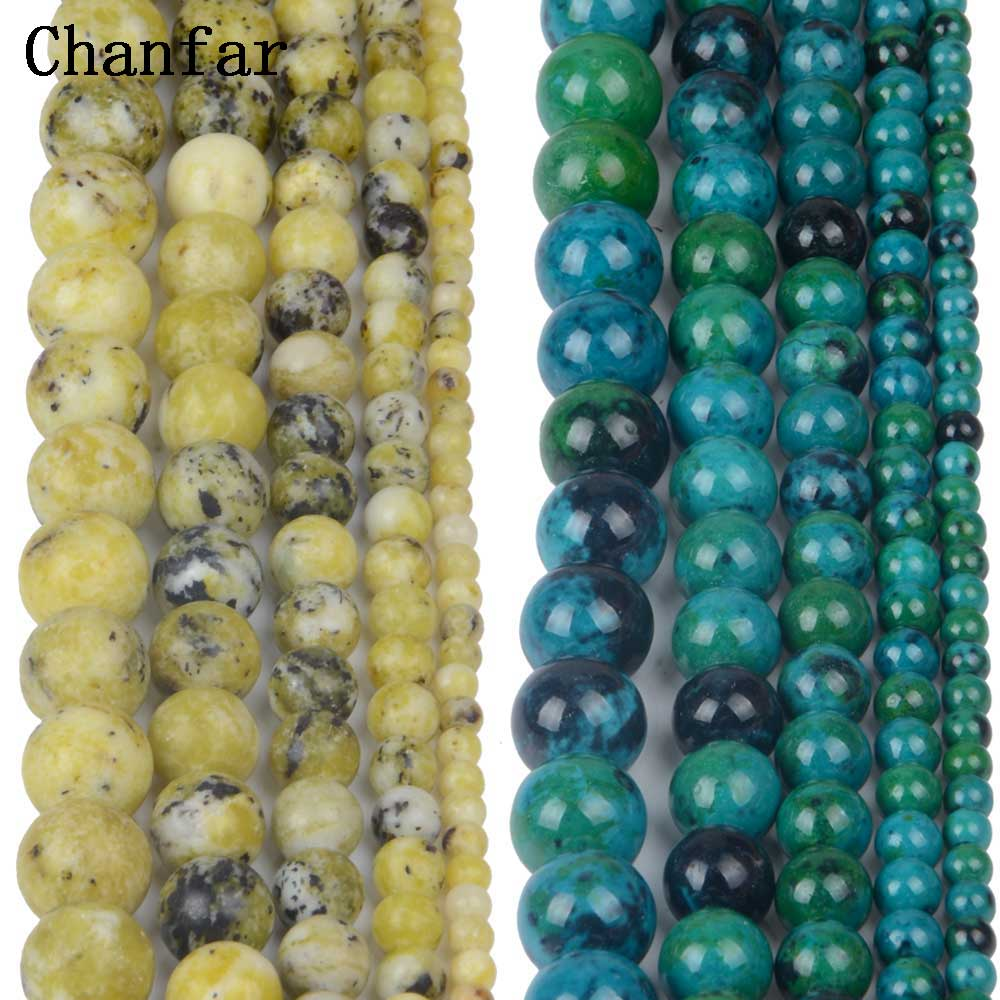 Phoenxi Blue Stone Yellow Pine Stone Women Jewelry Fashion Making Loose Beads 4 6 8 10 12mm