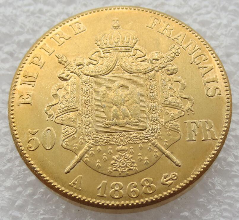 France Gold Plated 50 Francs - Napoleon III 1868 - A Copy Coins