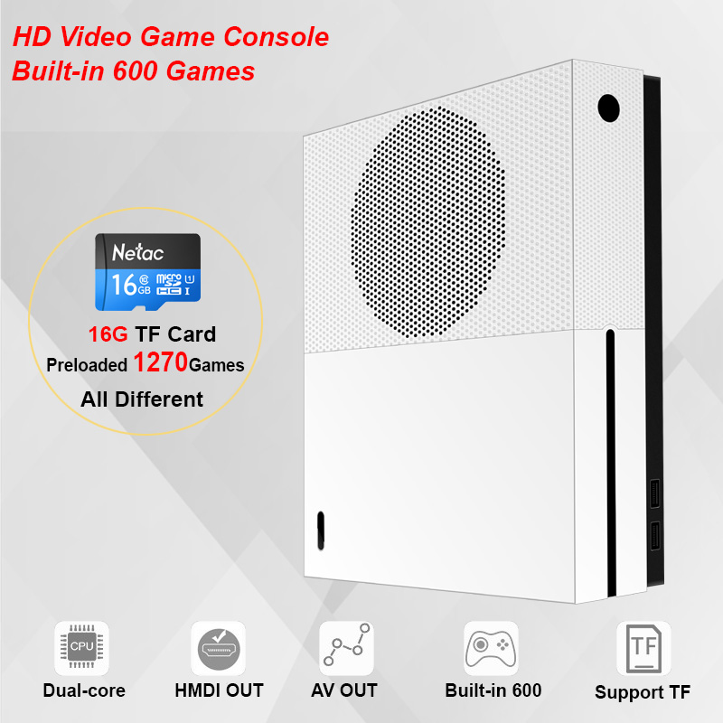 HDMI&AV Out Built-in 600 Classic Games TV Video Game Console Family Handheld Game Player with 16GB TF Card include 1270 Games