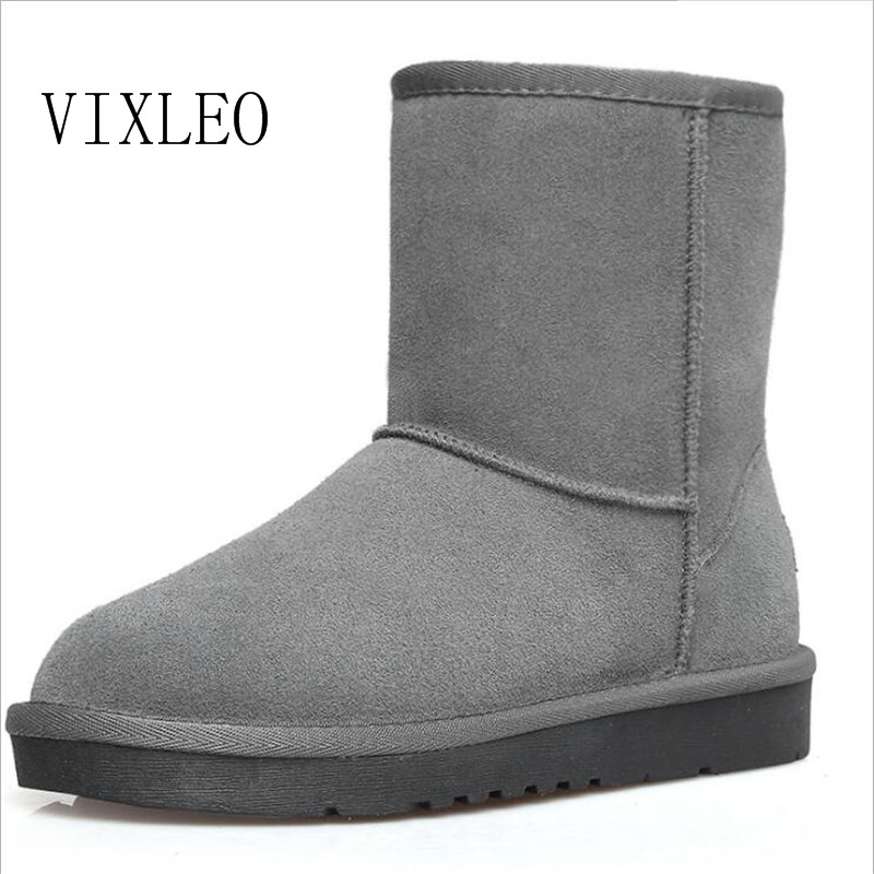VIXLEO Quality Ug Australia Women Boots Mujer Botas Ankle Leather Button Lady Snow Boots Warm 2017 Brand Unisex  Winter Shoes 2016 rhinestone sheepskin women snow boots with fur flat platform ankle winter boots ladies australia boots bottine femme botas