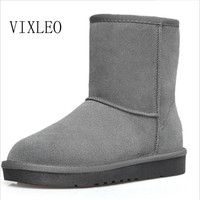 VIXLEO Quality Ug Australia Women Boots Mujer Botas Ankle Leather Button Lady Snow Boots Warm 2017