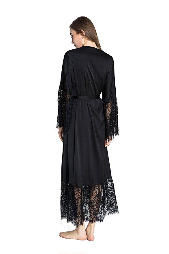 Summer Lace Patchwork Satin Kimono Robe Sexy Sleepwear Lingerie Chemises Women Silk Long Nightgown Wedding bridesmaid Robes 13