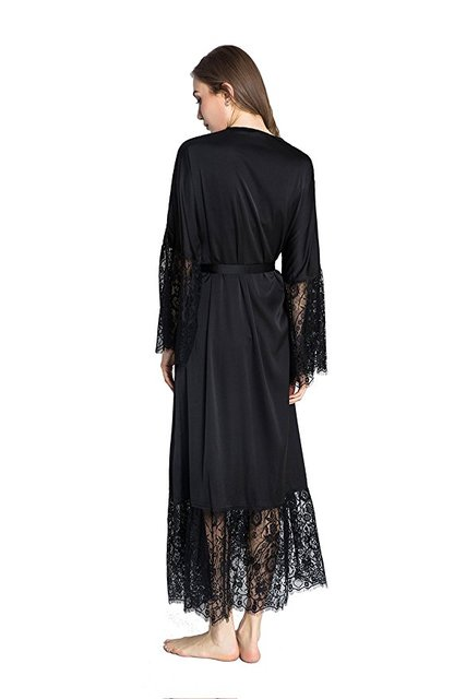 Women's Lace Detail Long Satin Robe